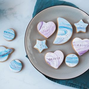 Galaxy inspired moon and back biscuit gift set