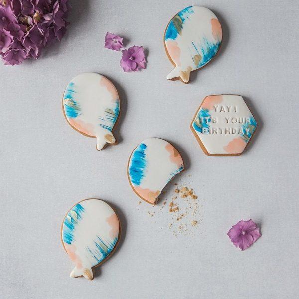Watercolour Balloon Birthday Biscuit Gift Set