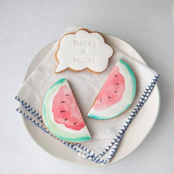 Painted watermelon thank you biscuit gift set