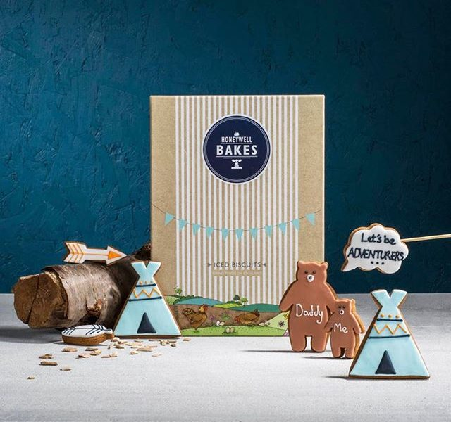fathers day biscuit gifts, fathers day gifts, personalised father's day gifts, bear biscuits, teepee biscuits, boho biscuits