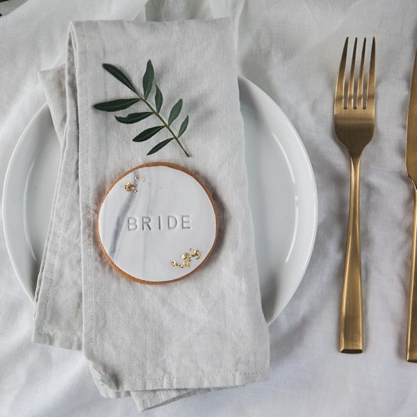 Place name wedding favour marble biscuits