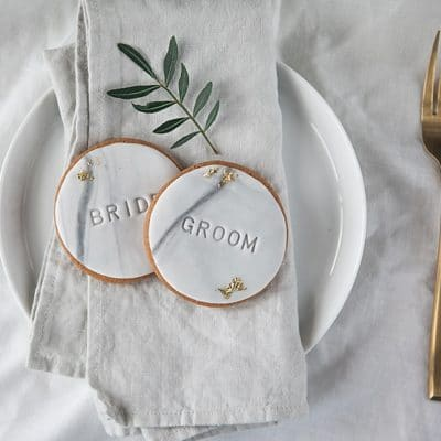 marble and gold wedding favour biscuits