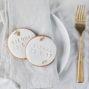 Stylish personalised christening favour biscuits