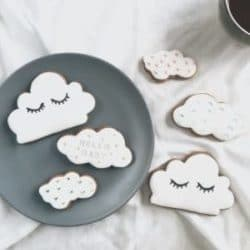 Hand painted new baby cloud biscuits