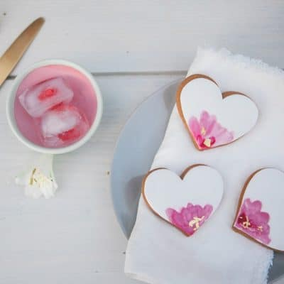 pink heart watercolour biscuits