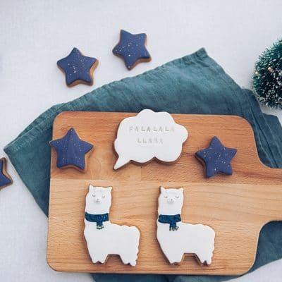 Christmas llama pun biscuit gift box
