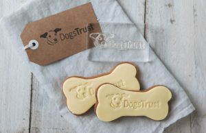 Stamped branded logo biscuit