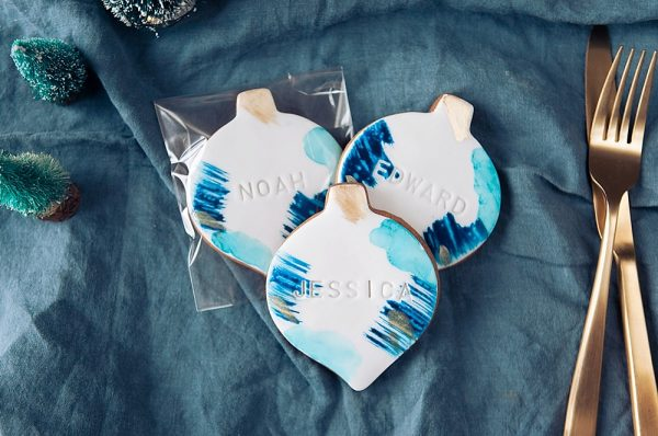 Hand Painted Personalised Bauble Biscuit