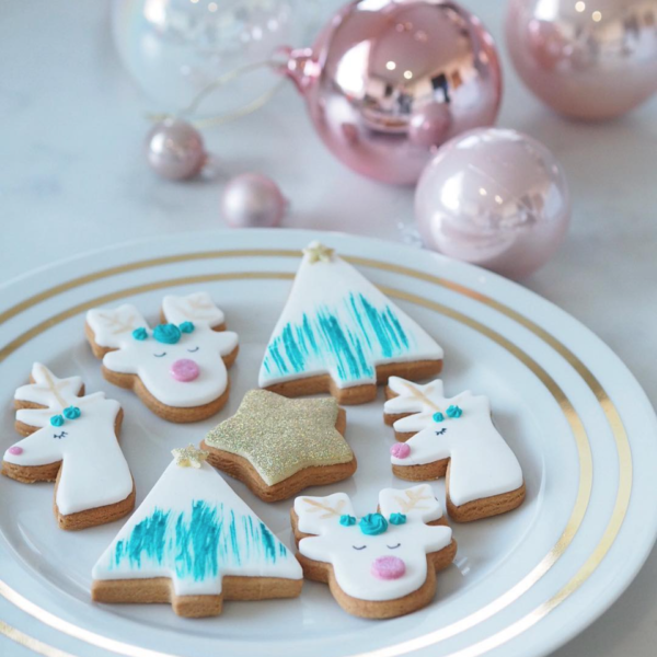 Sparkling reindeer biscuits with hand painted biscuit trees