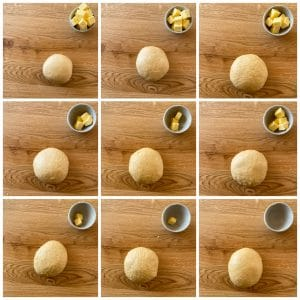 adding butter to dough