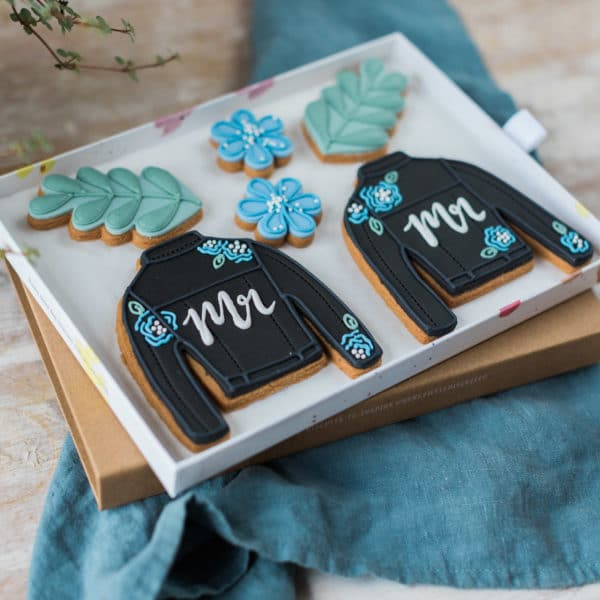 Two Personalised Leather Jacket Biscuits Gift